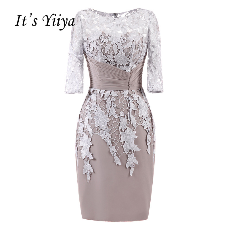 It's YiiYa Illusion Flowers Half Sleeves Lace Pleat Zipper Straight Cocktail Dresses Knee Length Formal Dress Party Gowns 7553
