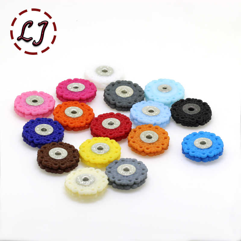 New high quality 30pcs/lot colorful 18mm 23mm plastic nylon flower dyed Snap Fasteners Press Button Stud sewing accessory DIY