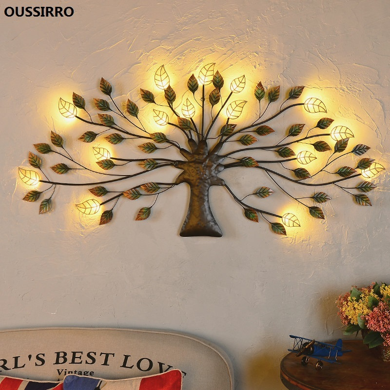 US $9.9 9% OFFOUSSIRRO Wrought iron LED decorative lights Living room  decoration Wall hangings Vintage style Home wall decorationsFigurines &