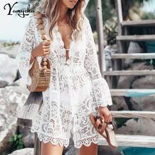 Sexy White Lace summer Dress women perspective Long sleeve V-neck beach Party Dresses elegant club midi dress Hollow vestidos HL sexy white lace summer dress women perspective long sleeve v neck beach party dresses elegant club midi dress hollow vestidos hl