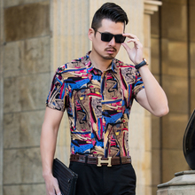 new arrival colorful printed shirt men brand good quality short sleeve casual dress shirts plus size