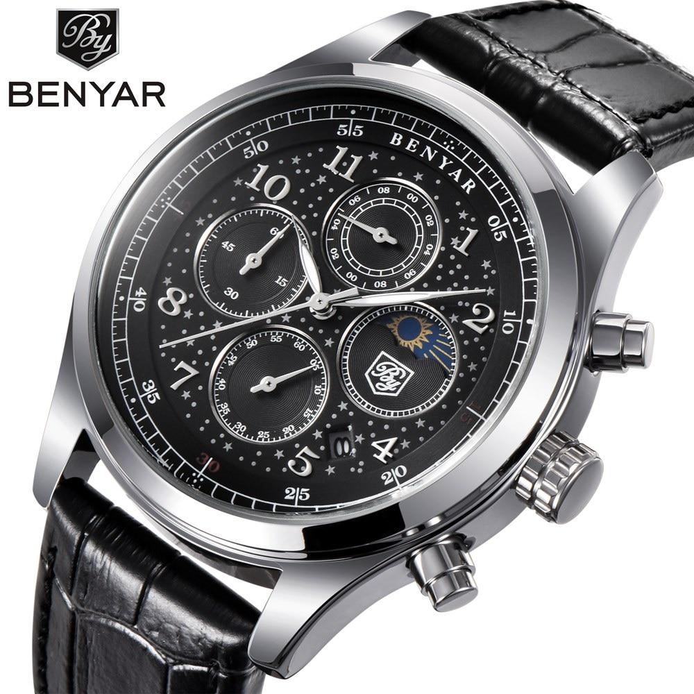 BENYAR Quartz Watch Men Waterproof Chronograph Sport Watches for Men Business Wrist Watch Male Clock relogio masculino saat