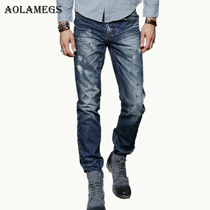 Aolamegs Men Denim Jeans Pants Men' s Casual Slim Distressed Ink Jeans Trousers Male Straight Fashion 100% Cotton Denim Trousers men