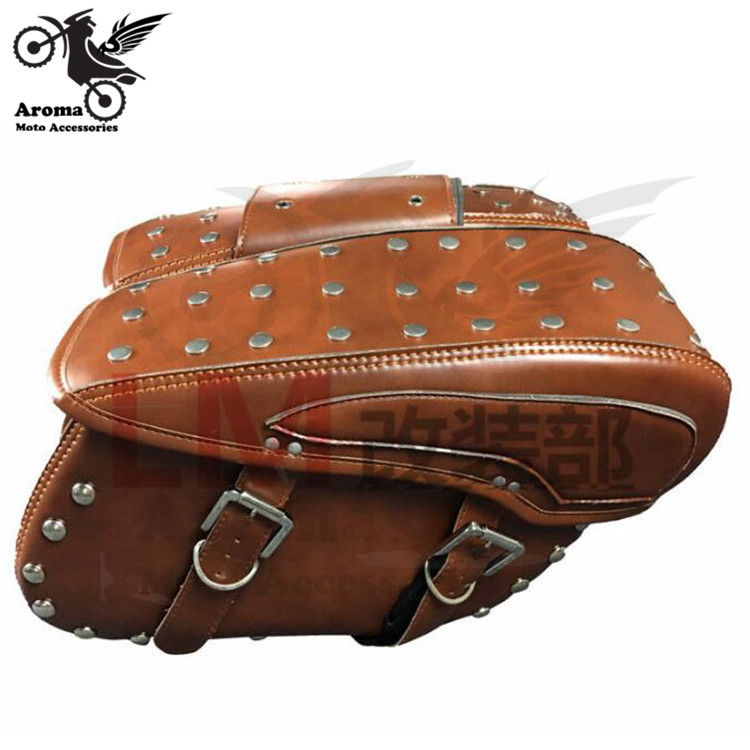big size rivet scooter tool tail leather moto saddle bag for harley prince cruise motorbike luggage pouch motorcycle saddlebag