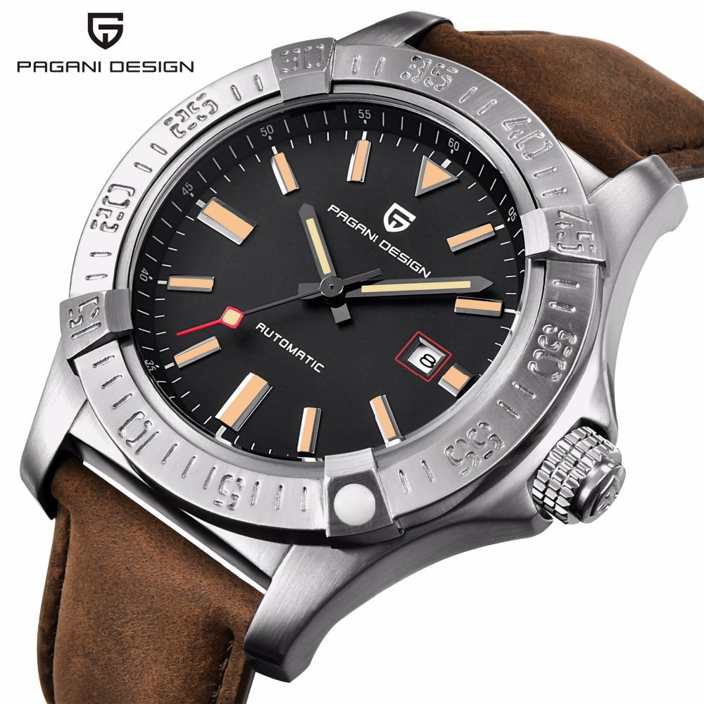 PAGANI DESIGN Casual Automatic Watch Men Genuine Leather Mens Watches Waterproof 30M Mechanical Wristwatches Relogio Masculino