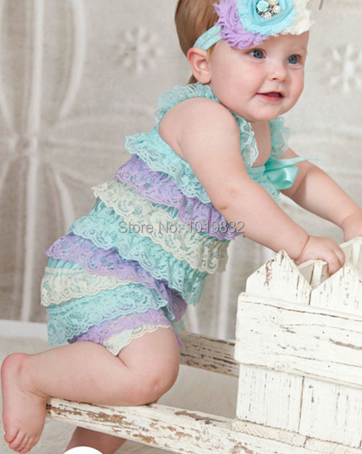 1e64d25cb07c Cute Baby Lace Romper Top Quality Newborn Girl Lace Romopers Auqa Lavender  Ivory Romper Baby