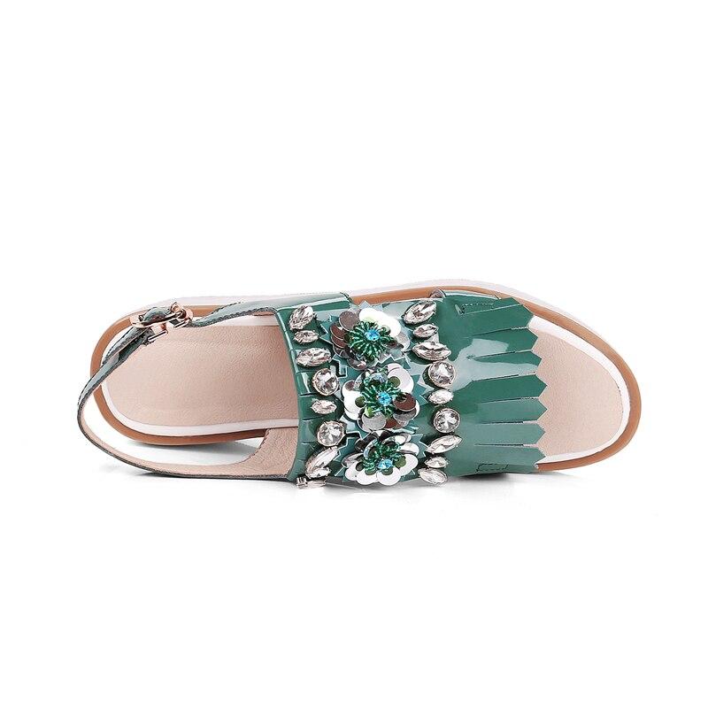 Verde Plataforma rosado Cristal Stylesowner Mujeres Sandalias Borla De Señoras Hebilla Las Rhinestone Verano Tacón Charol Alto Zapatos 1wZYnxwa