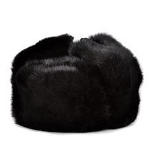 RY996 de piel de conejo de hombre de la gorra de invierno genuino 100%  bombardero sombrero cálido orejeras hombre de gris Negro . c9278b3885a