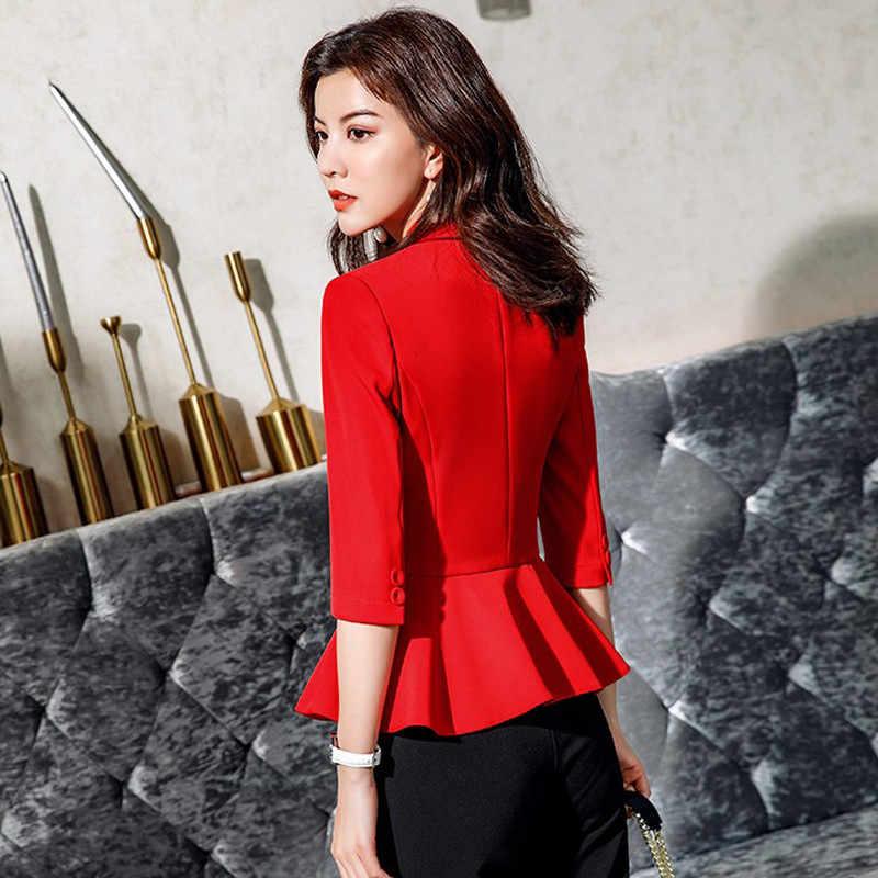 Thời trang Cộng Với Kích Thước Phù Hợp Với Áo Khoác Phụ Nữ Mùa Hè Blazer Femme OL Áo Ba Quý Quần Áo Giản Dị Không Đối Xứng Casaco Feminino B116
