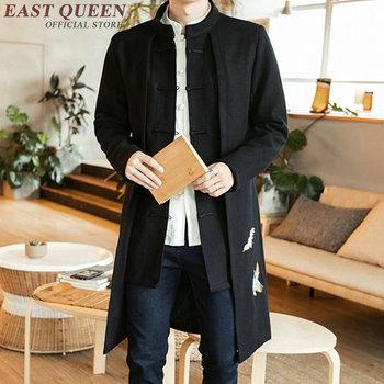 Tradycyjna chińska odzież dla mężczyzn mężczyzna płaszcz odzież wierzchnia orientalny zimowy płaszcz trencz mężczyźni trenchcoat odzież 2018 KK1893 tanie i dobre opinie Szata suknia EASTQUEEN COTTON Linen wyszywana