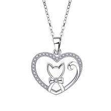 Real sterling silver 925 lovely cat necklace in jewelry love heart shape pendant necklace chain fashion silver jewelry for girl