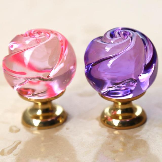 Merveilleux Modern Fashion Creative Rose Glass Crystal Drawer Shoe Cabinet Knobs Pulls  Gold Pink Purple Kitchen Cabinet