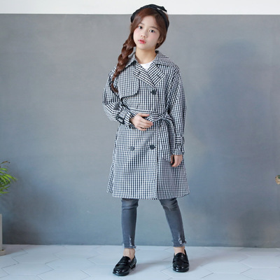MAGGIES WALKER Trench Coat Kids Boys Girls Black Plaid Double-Breasted Windbreaker Outfits Toddler Kid Windproof Trench Coats