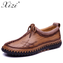 XIZI Men 100% Genuine Leather Fashion Casual Shoes Handmade Winter High Quality Men Flats Shoes Zapatos Hombre male loafers shoe все цены