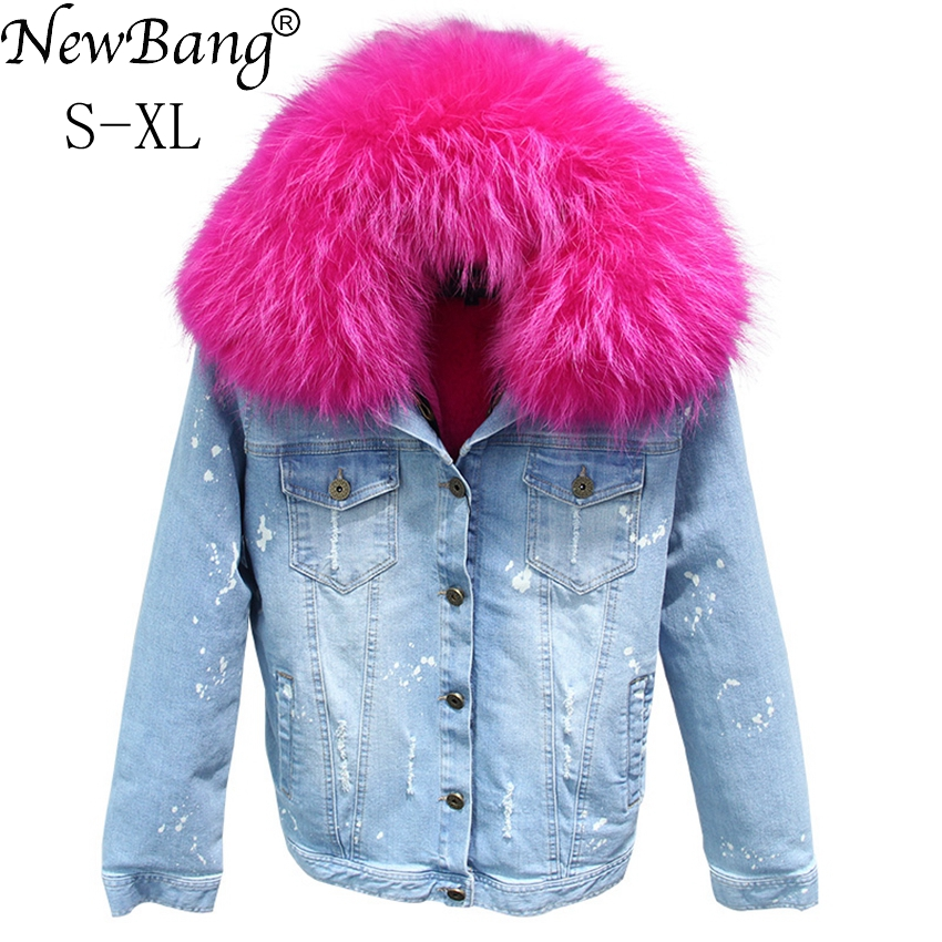 NewBang Brand Denim Women Luxurious Large Raccoon Fur Collar Hooded Coat Thick Warm Fur Liner   Parka   Winter Jacket Women