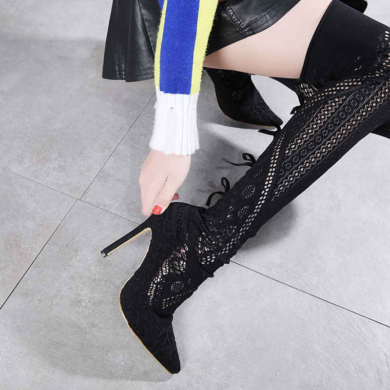 Vestido Tacones Altos Rodilla Largo Zapatos Yma23 Sobre La Negro Sandalias Mujeres 2018 Botas Verano Gladiador Sq1ZvF