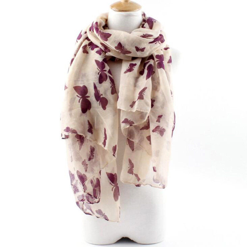 Women Soft Cotton Polyester Fashion Printing Butterfly Shawl Scarves Scraf