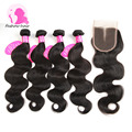 8A Unprocessed Brazilian Virgin Hair With Closure Brazilian Body Wave With Closure 4 Bundles Human Hair Weave Weft With Closure