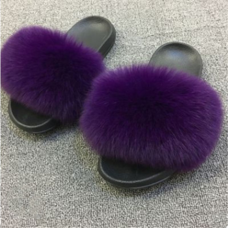 26 colors Fox Hair Slippers Women Fur Home Fluffy Sliders Plush Furry Summer Flats Sweet Ladies Shoes Size 45 Cute Pantufas