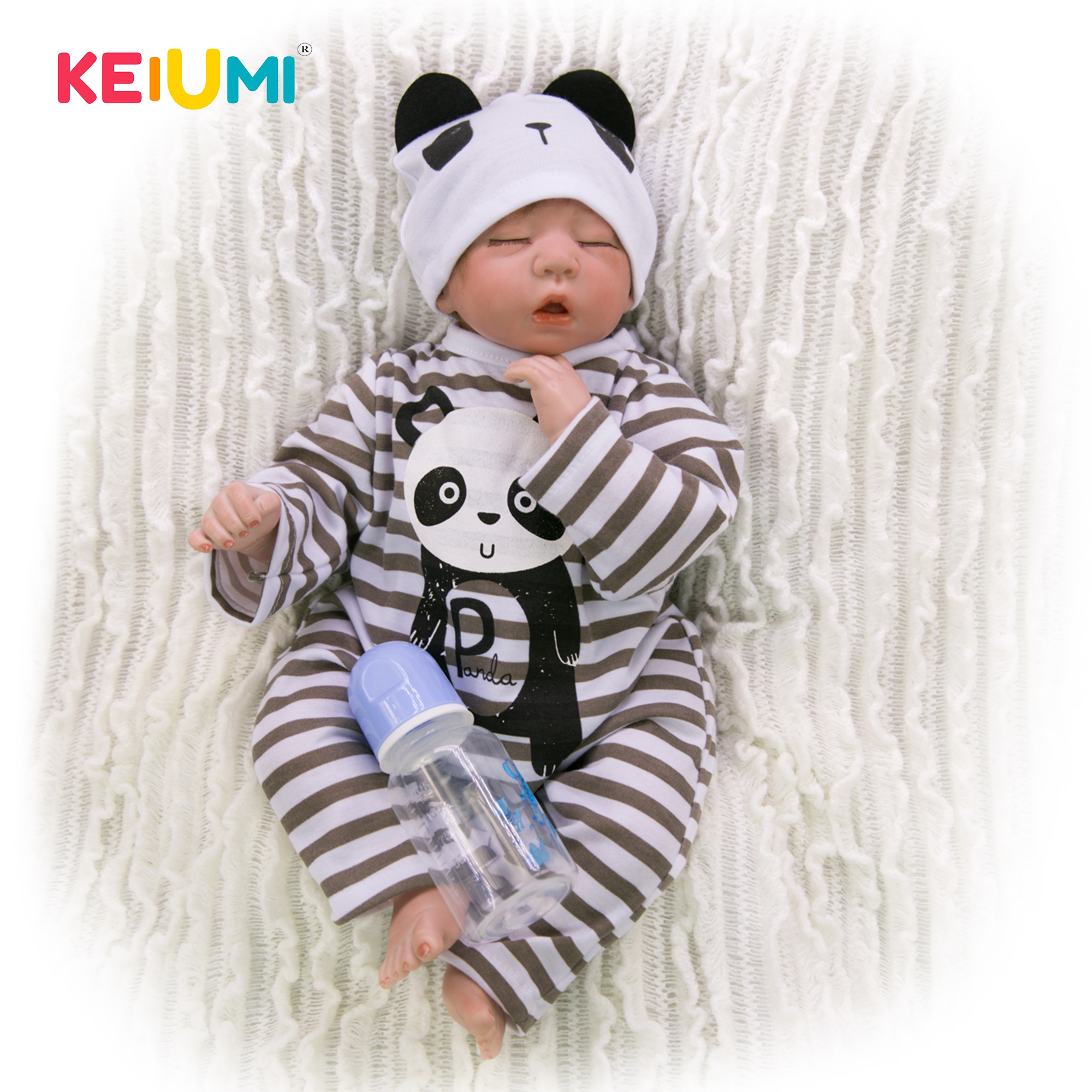 Wear Panda Romper 20 Inch Reborn Baby Dolls Soft Silicone Newborn Sleeping Babies Toy Lifelike Doll