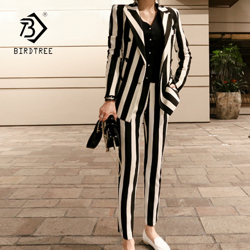 Women s Black White Striped Slim 2 Piece Set Broad Shoulder Blazer Pants 2018 Spring New
