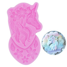 SEAAN Unicorn Head Flower Baking Silicone Mold Cake Decoration DIY Fondant 3D Soap Mould Chocolate for Confectionery