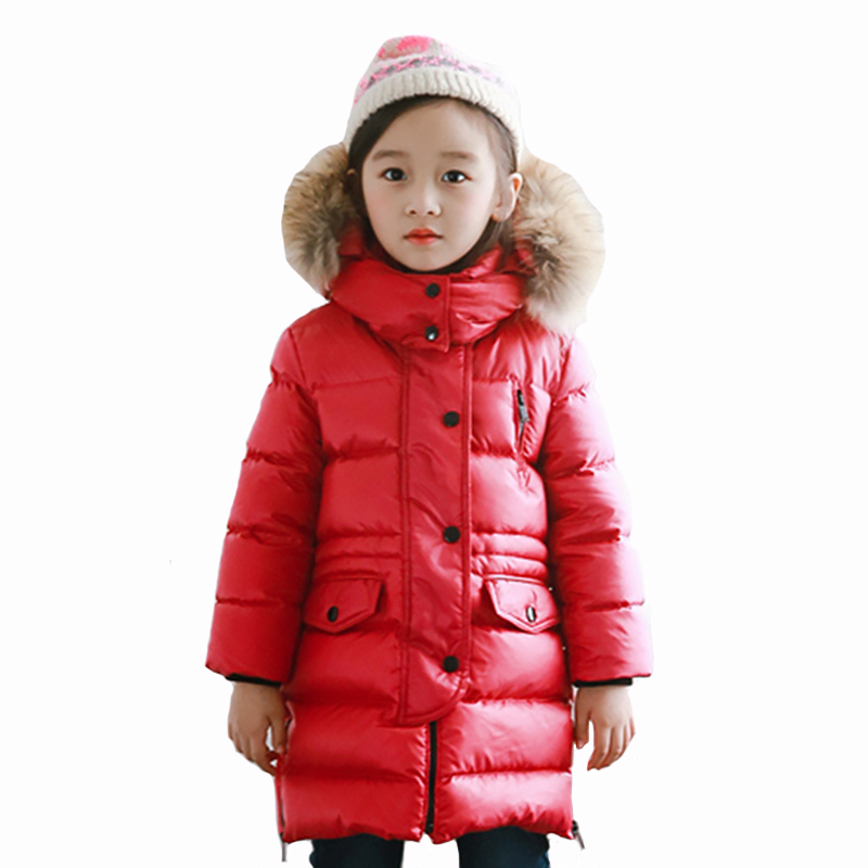 Winter Girls Coat Children Parkas Clothes Kid Fur Collar Long Zipper Turtlenck Warm Outerwear for 4y-12y women winter coat leisure big yards hooded fur collar jacket thick warm cotton parkas new style female students overcoat ok238