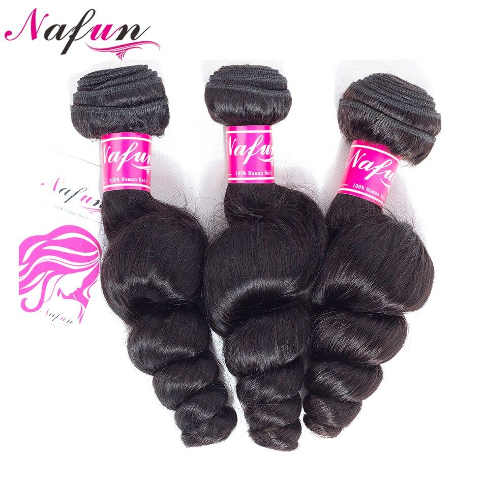 NAFUN Human Hair 3 Bundles Peruvian Loose Wave Hair Weave Bundles Deals Hair Extensions Natural Color Non Remy Hair