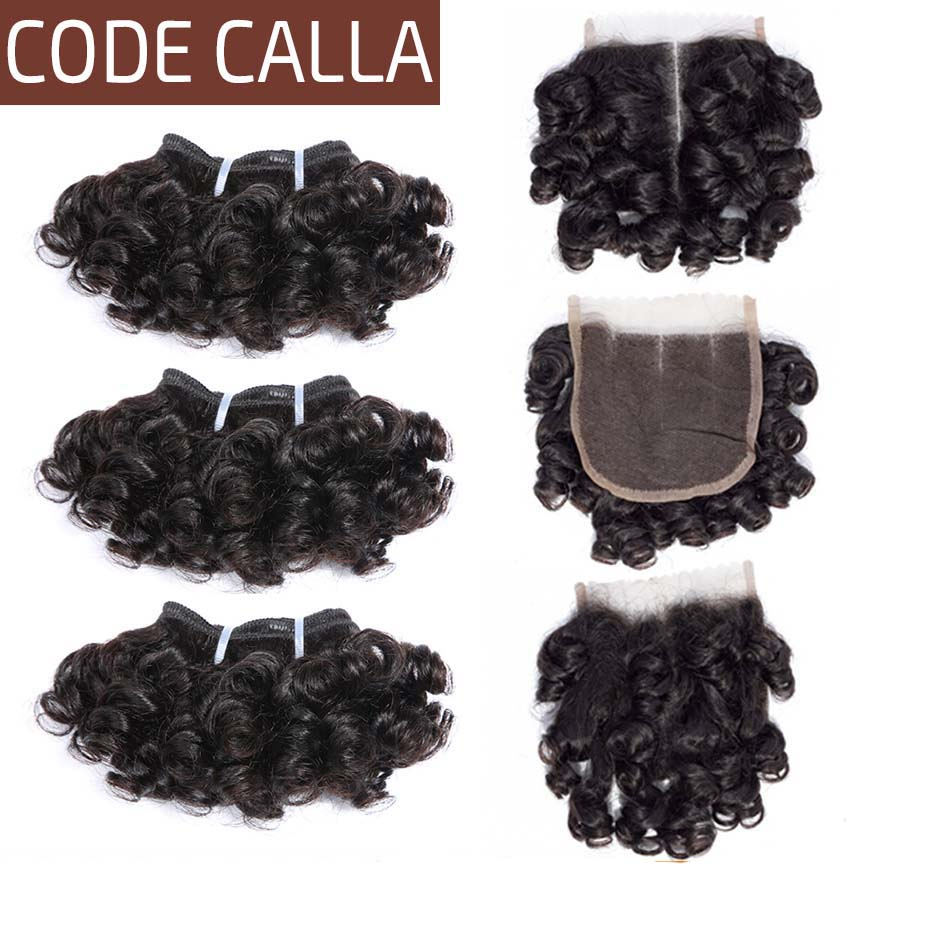 Code Calla Bouncy Curly Double Drawn Brazilian Remy Human Hair Extensions 35 G 6 Bundles With 4*4 Lace Closure Can Make A Wig