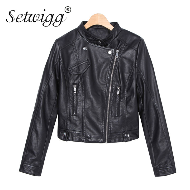 Womens Classic Pocket PU   Leather   Short Jacket Coat Female Soft Faux   Leather   Stand Collar Black Motorcycle Jacket & Outerwear