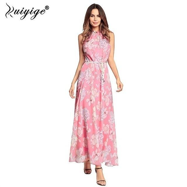 05aaa589e9dd2 Ruiyige Summer Chiffon Halter Maxi Dress Floral Print Off The Shoulder Boho  Dress Belt Women Elegant Party Long Beach Vestidos