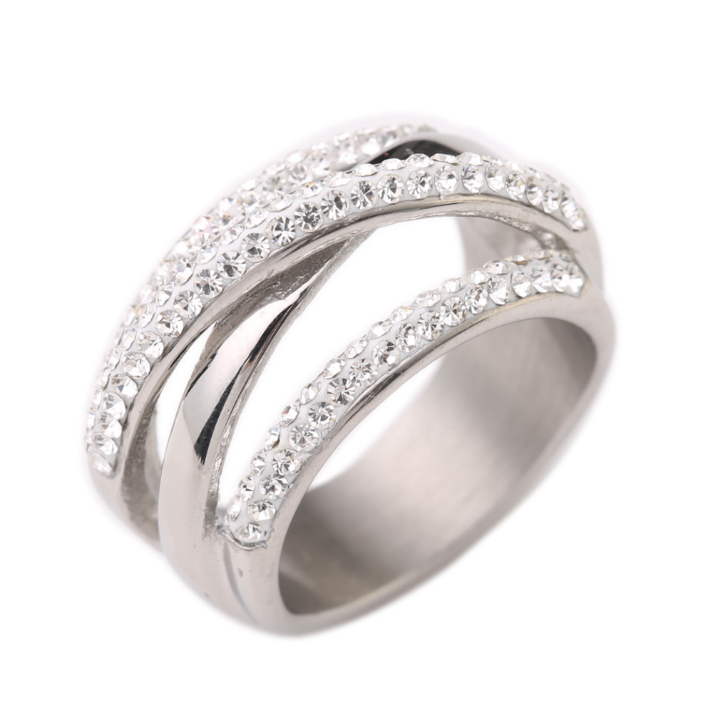 316L Stainless steel Wedding Rings For Women Engagement Fashion CZ Crystal Jewelry