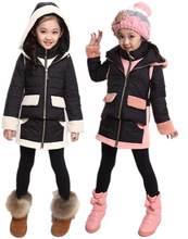 Free shipping New winter girl false two-piece thickening hooded cotton quilted jacket