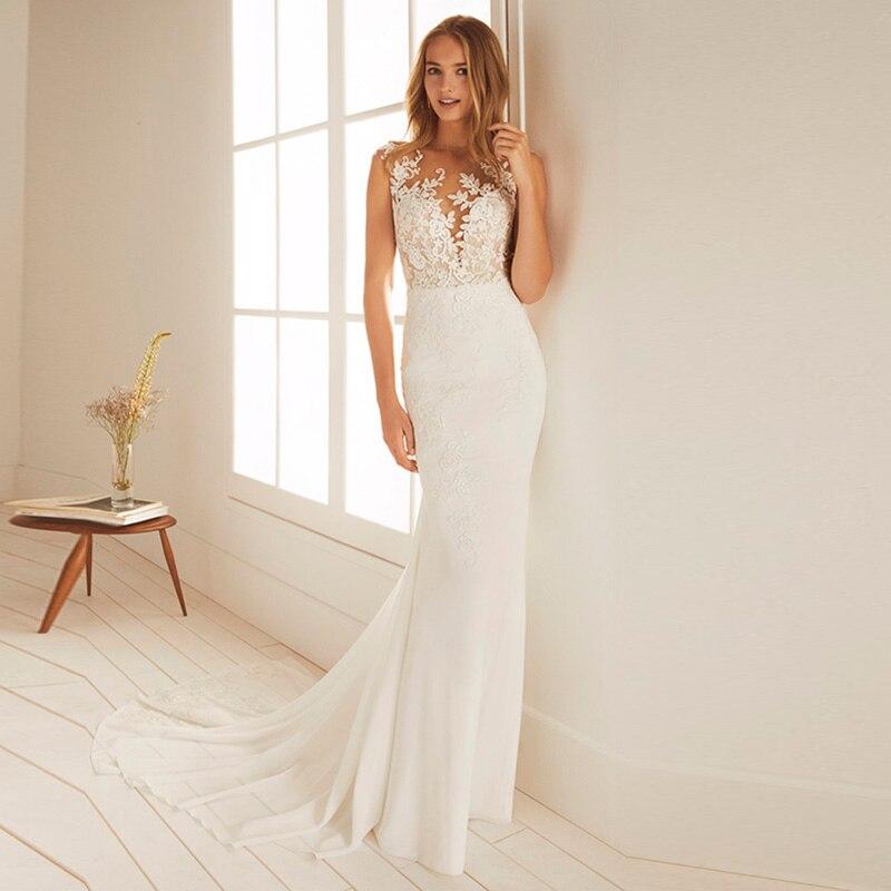 2019 sirène robe de mariée en mousseline de soie Appliques dentelle vestidos de novia encolure dégagée robe de mariée robes de mariée