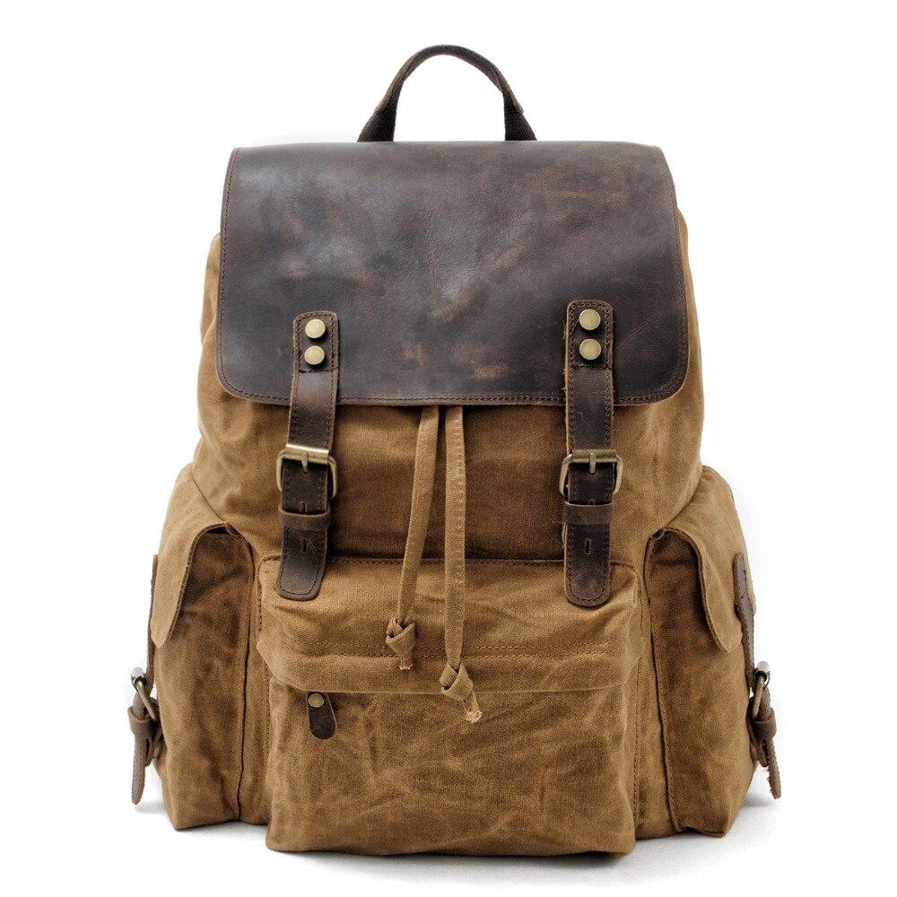 MUCHUAN Top Luxury Canvas Leather Unisex Backpacks Large Capacity Waterproof Vintage Daypacks Retro School Bag Teenager