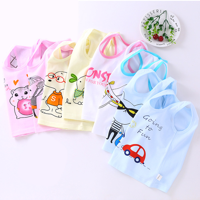 2pcs/lot Baby Boys Girls Tanks Tops Solid Candy Color Children Vest Beach Camisoles Kids 100% Cotton Sleeveless T-shirts VE006