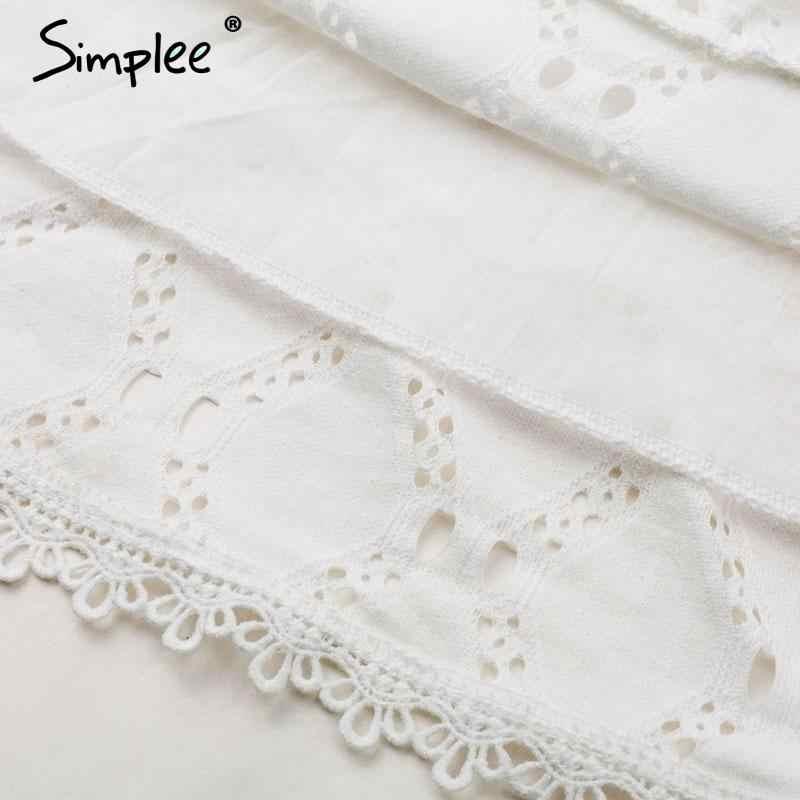 Женское летне-осеннее кружевное платье Simplee, белое повседневное хлопковое платье для женщин с расклешенным рукавом, короткое платье с высокой талией