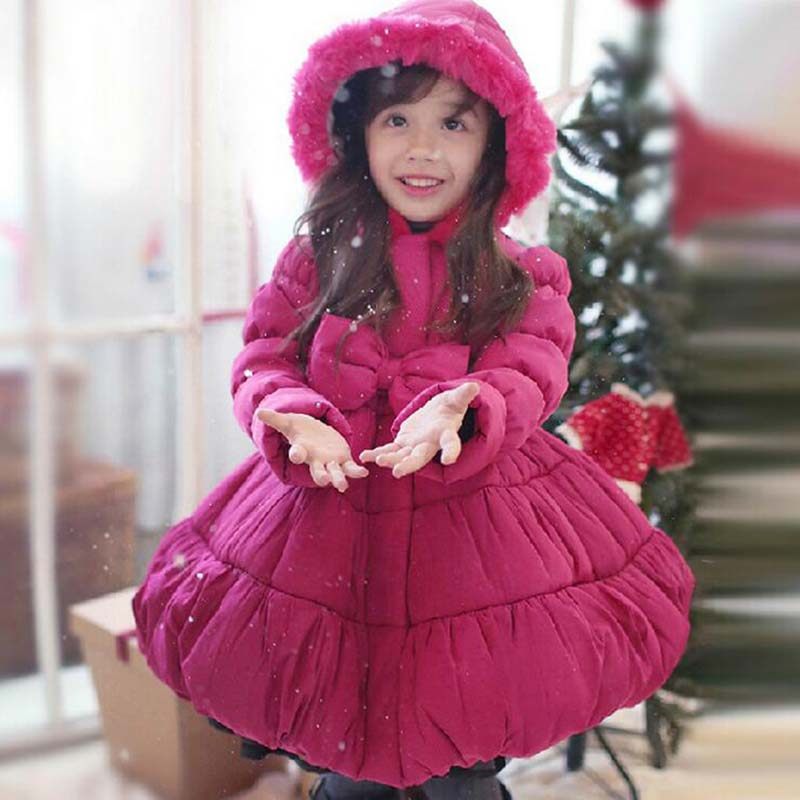 ФОТО 2015 girls warm coat baby winter long sleeve thick jacket children cotton-padded clothes kids christmas outwear