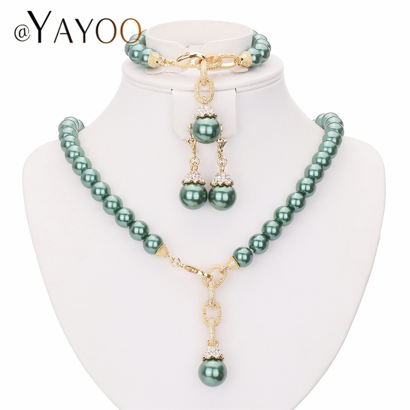 AYAYOO Jewelry Sets For Women Simulated Pearl Indian Wedding Jewellery Set Bridal Luxury African Beads Jewelry Set