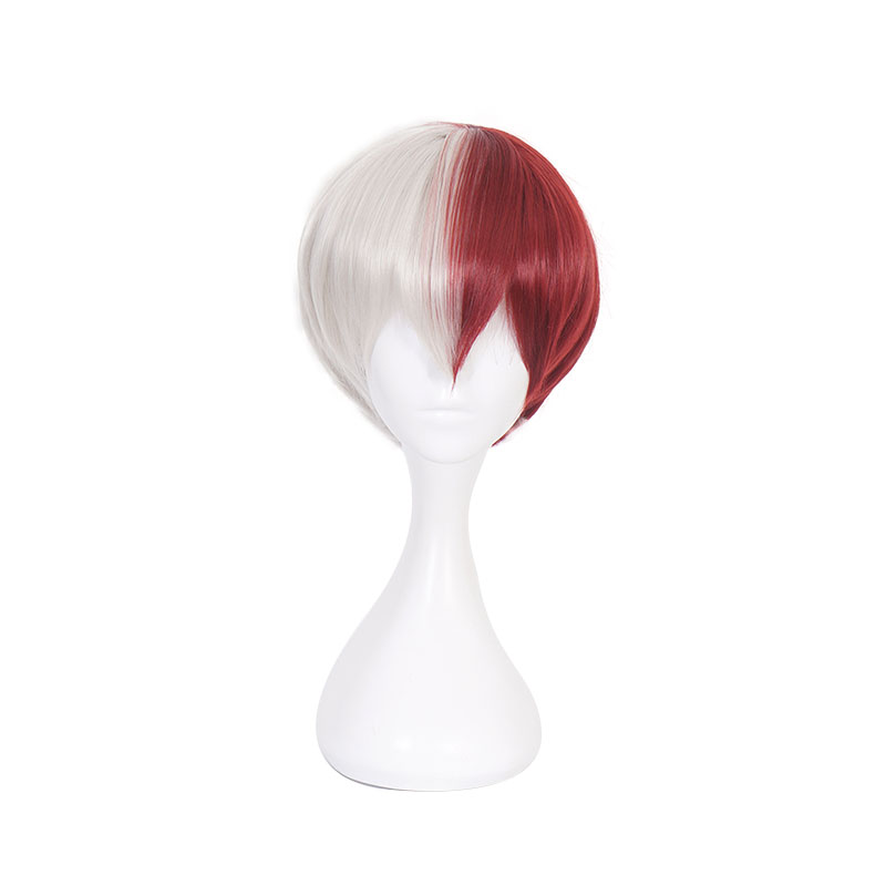 Image 5 - Anime My Hero Academia Boku no Hiro Akademia Shoto Todoroki Shouto White And Red Cosplay Wig+Wig Cap-in Anime Costumes from Novelty & Special Use