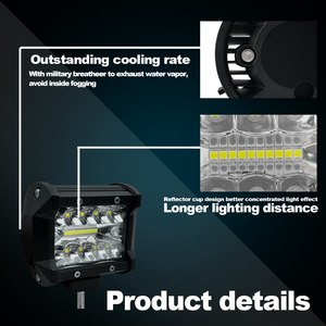 Image 5 - 4 אינץ 60 W שתי שורות Led אור בר רכב סטיילינג מול אור בשעתי יום עבודה אור אורות מבול קרן טרקטור משאית Offroad