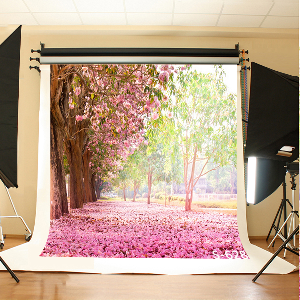 Wedding Photography Backdrops Pink Flowers Grassland Birthday Photo Background Sunny Woods Background for Photographic Studio