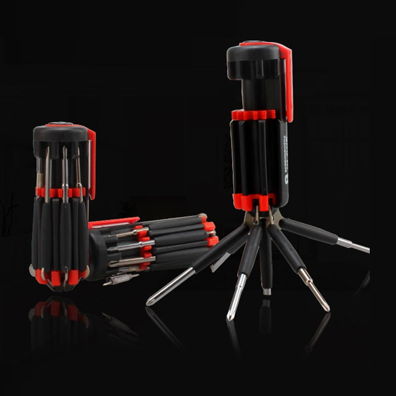 <font><b>8</b></font> <font><b>in</b></font> <font><b>1</b></font> <font><b>Screwdriver</b></font> Multifunction Slotted Phillips Screw Driver Set Bits With <font><b>Flashlight</b></font> Portable Repair Machine Handle Tools image
