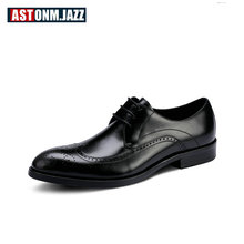 Plus Size 11 12 Eur 45 Men Brogue Shoes Full Grain Leather Lace Up Craved Oxfords Man Pointed Toe Wedding