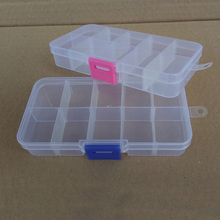 10 grid detachable transparent storage box cosmetic jewelry fishing gear Jewelry Organizer Container