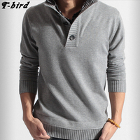 T Bird Sweater Men 2017 Casual V Neck Simple Pullover Brand Men S Slim Fit Fake