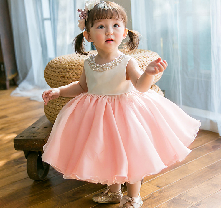 High Quality Baby Girl Dress Pink Chiffon Baptism Dress for Girl Infant 1 Year Birthday Dress