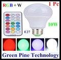 Envío gratis 1 Unidades E27 10 W RGB + W LLEVÓ la Bombilla RGB luz de la Lámpara de escritorio LED Blanco downlight droplight iluminación con Control Remoto controlador