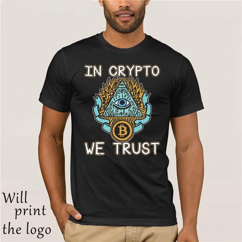 2018 Verão de manga Curta Moda Camisa Camiseta Em Criptografia Nós Confio Bitcoin Cryptocurrency Tshirt