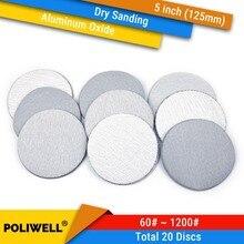 5 zoll 125mm Aluminium Oxid Haken und Schleife Trockenen Schleifen Discs 60-1000 Schleifpapier für Holzbearbeitung Sander polierer Papier 20PCS